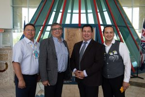 Chief Michael Starr, Chief Byron Bitternose. FNPA CEO Guy Lonechild and Chief Cadmus Delorme. Photo by Michael Dubois.