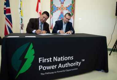 FNPA CEO Guy Lonechild and SaskPower CEO Mike Marsh. Photo by Michael Dubois.