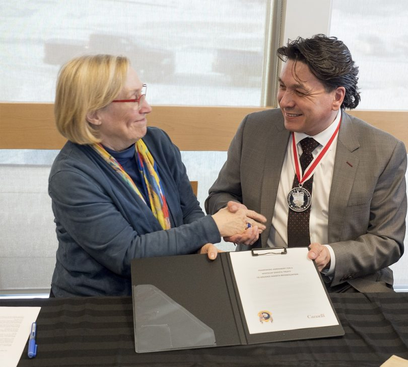 Hon. Carolyn Bennett, Minister of Crown-Indigenous Relations and Chief Darcy Bear, Whitecap Dakota First Nation