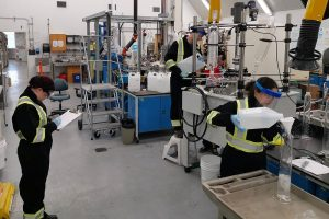 Researchers working at the USask Bioprocessing Pilot Plant. Photo - USask