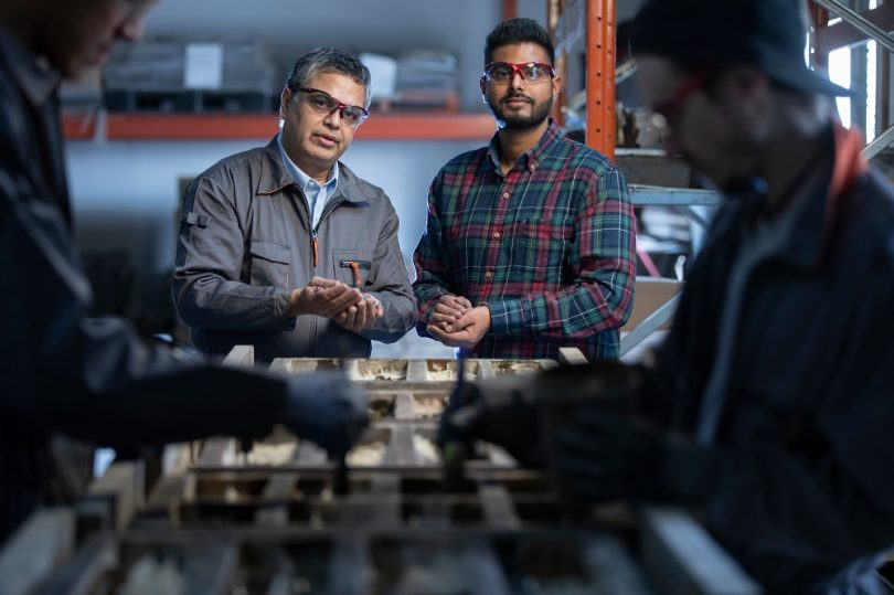 Dr. Satya Panigrahi, Sask Polytech research chair, Innovative Manufacturing and Parmjot Maan, president of Innovative Stonecraft
