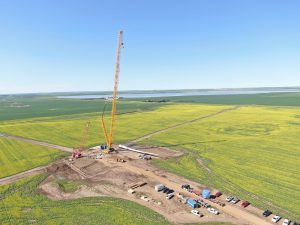 First blade at Golden South Wind Energy Facility near Assiniboia. Photo provided by SaskPower.